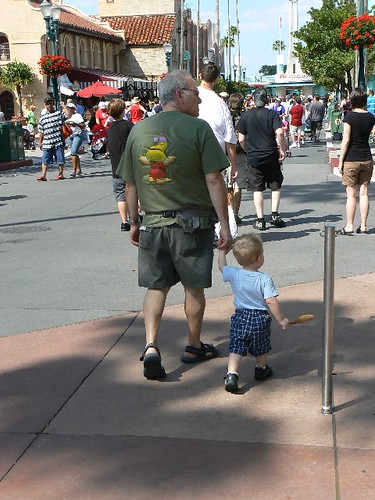 Papa takes the little guy for a stroll