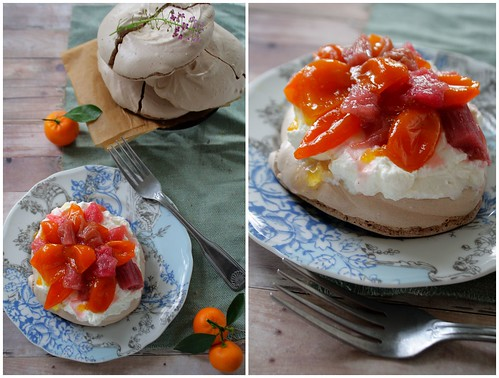 Chocolate Pavlova with Candied Kumquats and Rhubarb