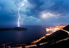 Thunderstorm on Dubrovnic (gillespinault) Tags: sea nature night power shot croatia thunderstorm lightning isle dubrovnic