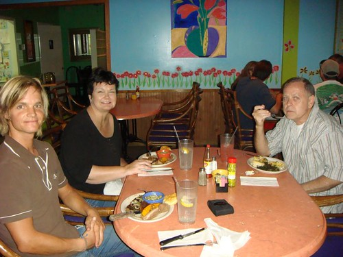 Having a great dinner with Kathy and Don at the Sweet Potatoes Rest., Savannah.