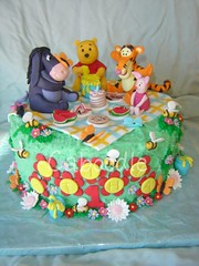 winnie the pooh picnic cake (The Whole Cake and Caboodle ( lisa )) Tags: flowers newzealand flower cakes cake butterfly picnic bees butterflies watermelon pooh winn