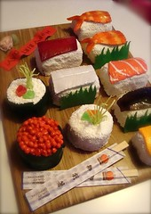 "sushi  cakes tray with ""grass"" by debbiedoescakes"