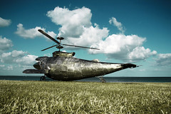 Humpback Gunship... (Audiotribe) Tags: blue sky sculpture cloud art beach water grass clouds strand canon landscape denmark eos skies kunst fluffy himmel skulptur whale sculpturebythesea danmark skyer aarhus gunship rhus bl moesgrd landskab fluffyclouds grs ballehage tangkrogen 400d flickraward benjamingilbert humpbackgunship
