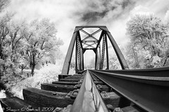 Down the Line (Shawn O'Connell Photography) Tags: railroad bridge blackandwhite bw ir nikon d70s tracks fisheye infrared railroadtracks