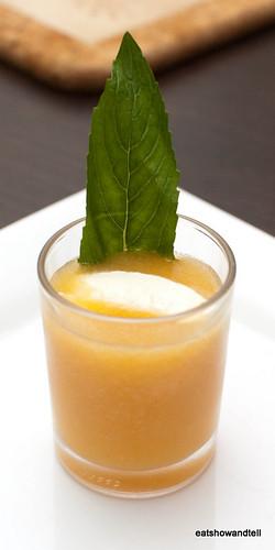 Palette cleanser: Chilled rockmelon soup with creme fraiche