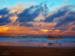 before leaving ~ antes de partir (_Paula AnDDrade) Tags: blue sunset red brazil tourism beach yellow brasil clouds boat turismo maragogi alagoas bemflickrbembrasil