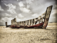 Withering Shapes ~ Boat (Pixel Poet.) Tags: sea india beach hdr tamilnadu rameswaram boatwreck dhanushkodi flickrdiamond