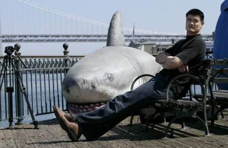 May 5th, 2011 - Yao Ming takes a break from filming a PSA commercial to reduce the consumption of shark fin soup