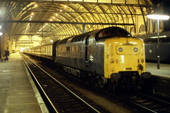 Deltic 55010 Kings X  26/3/81 (Stapleton Road) Tags: station night photography platform railway kingscross napier deltic englishelectric namers class55 55010