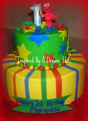Elmo 1st Birthday cake (Inspired By A Dream) Tags: blue red green yellow stars 1st stripes birthdaycake sesamestreet elmocake 1stbirthdaycake childrenscake