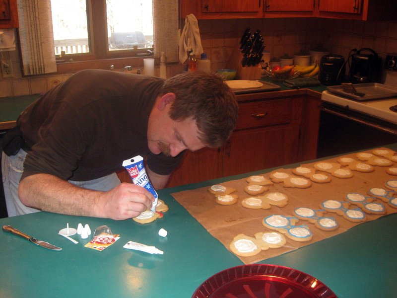 Kyle's father making cookies