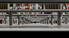 Bookshelves (flynnkc) Tags: school vancouver canon 50mm vanishingpoint student university library libraries perspective philosophy books ethics study thesis graduate professor bookshelves seminary studying barth kierkegaard hegel focault shevles regentcollege ellul niftyfifty abigfave diamondclassphotographer flickrdiamond