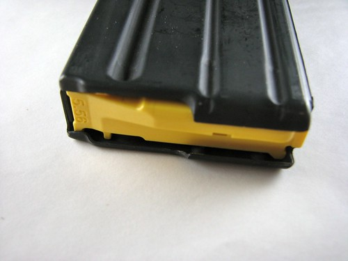 AR15 Magazine with Yellow Magpul Follower