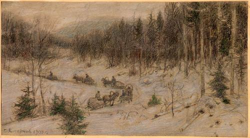 026- Carretera siberiana- columna de carros  en la región de Krasnoiarsk- Boris Smirnov 1904