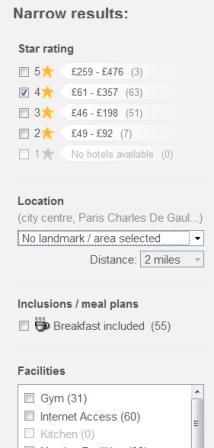 Hotels.com filters
