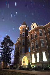 Hall of Stars (MattGerlachPhotography) Tags: school building college promotion university huntingtonuniversity indiana oldmain hu admissions startrails blueskys publicrelations timelaps beckerhall huntingtoncounty