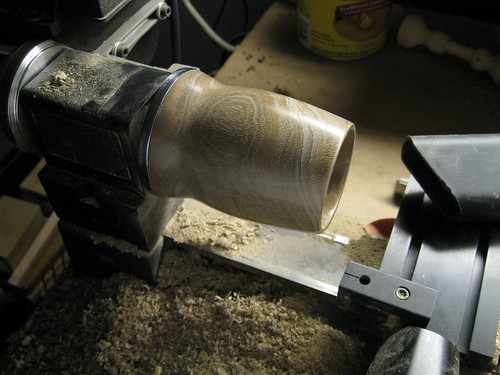 euc log turned into cup and sanded to a fine grit