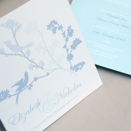 Lovebirds blue wedding invitation from mini Moko, Blue lovebirds Wedding invitation idea, wedding invitation sample, wedding invitation, flowers, photos