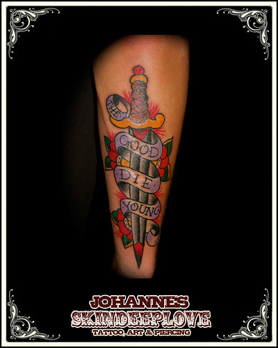 old school dagger tattooed by johannes skindeeplove please do not steal