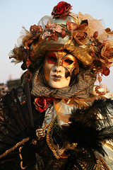 The Black Lace Fan 2 (Photos and Art: Donna Corless) Tags: carnival venice costumes italy black festival portraits gold fan costume europe italia european mask masks carnivale venezia 2009 lacefan donnacorless