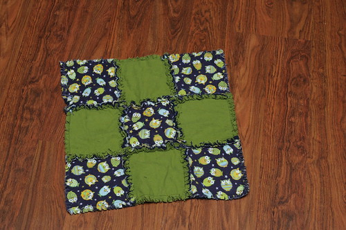GLOW IN THE DARK Owl Mini Rag Quilt