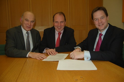 Simon Hughes with Nick Clegg and Vince Cable