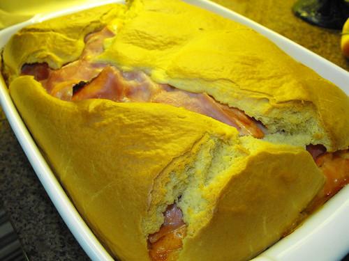 Pão rápido de fiambre e queijo