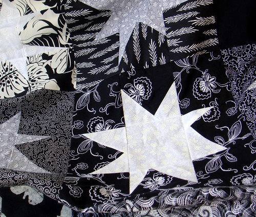 black and white wonky start quilt top wip
