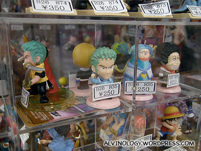 Figurines of characters from the pirate-themed manga, One Piece