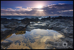 Beam Me Up (Adrian Klein) Tags: ocean seascape water sunrise canon hawaii klein rocks warm south beam filter shore kauai tropical poipu adrian
