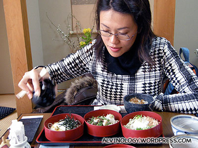 Rachels lunch: a serving of three different types of soba (buckwheat noodle)