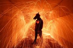 hell's kitchen (tdub303) Tags: light orange man hot kitchen painting fire crazy stencil hell sparks horsehead hells fiziks lightstencil tdub303 limagecolor crazyhorseheadman