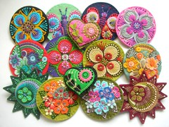 WHOLESALE ORDER READY TO FLY TO USA! (APPLIQUE-designedbyjane) Tags: flower pin embroidery brooch felt badge corsage applique