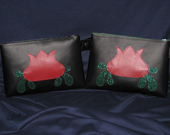 IMG_9729 (crafty_dame) Tags: flower glitter vintage bag lotus sewing vinyl sew pouch applique wristlet glittervinyl