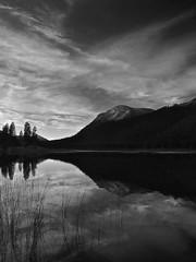 Calm Evening (Nurse Kato) Tags: mountain lake reflection water monochrome clouds canon landscape washington dusk chelancounty