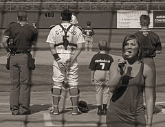 Singing behind home plate (joiseyshowaa) Tags: county new blue portrait bw white black ball blackwhite newjersey baseball little nj national jersey monmouth lakewood minor aa league claws anthem mlb umpire ocrean blueclaws a joiseyshowaa joiseyshowa