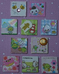 Quick & Easy - Kawaii Inchies Swap *^_^* - sent to Helena8664 and DisneyRider (jembogawa) Tags: pink blue cute green glitter japanese kawaii brads swapbot inchies