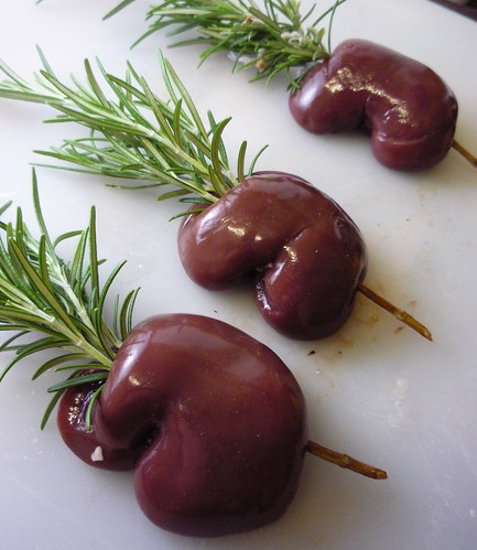 Kidneys on rosemary skewer