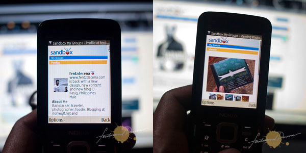 Sandbox Mobile Screens (Profile on left and Photo Viewer on right)