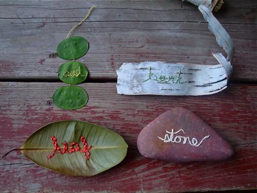 seed, leaf, bark, stone