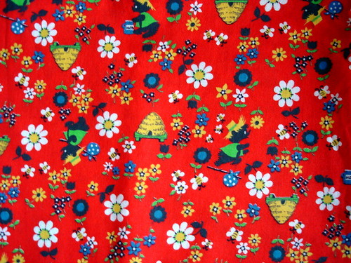 vintage bee and bear fabric