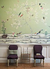 Asian birds fabric as wallpaper: 'Snow Blossom' by Zoffany (xJavierx) Tags: wallpaper green home asian design panel interior fabric decorating chinoiserie decor cushion paneling dado throwpillow wainscoting sidechair zoffany fabricpanel