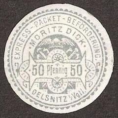 Oelsnitz Express-Packet-Befrderung Moritz Dick 50 Pf (privatpost) Tags: locals oelsnitz briefmarken localpost privatpost stadtpost