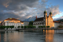 Lucerne Jesuit Church, Switzerland (**Anik Messier**) Tags: bridge mountain mountains church horizontal landscape switzerland catholic power suisse glory religion rivire pilatus pont baroque glise hdr montagnes concerthall swissalps jesuits reuss gutsch jesuitchurch riverreuss baroquechurch mywinners abigfave pilatusmountain citrit theperfectphotographer lucernesjesuitchurch