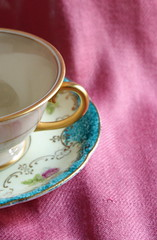 Cup & Saucer (decor.amor) Tags: pink blue summer white color detail cup floral gold bright tea ivory teacup antiquevintage