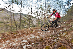 Bicycle downhill [explored] (Nick-K (Nikos Koutoulas)) Tags: trees orange mountain bike bicycle forest greek nikon nikos downhill greece panning f4 vr nickk 1635mm     d700   koutoulas