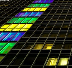 """.. . Walk Of Light . .. (tommatsch (New Gallerys""""Noisy & EOS"""")) Tags: blue windows green yellow night lights hotel nikon nacht fenster cologne kln d90 blueribbonwinner supershot platinumphoto nikond90 flickrdiamond colourartaward flickraward"""