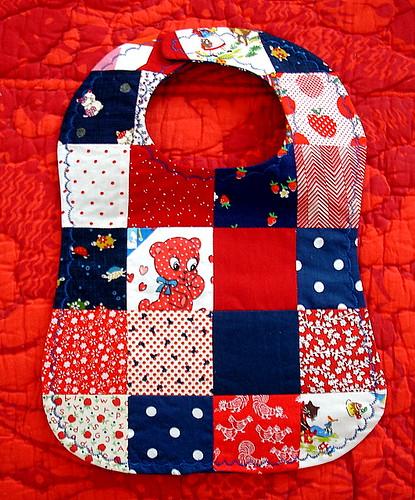 patriotic patchwork baby bib