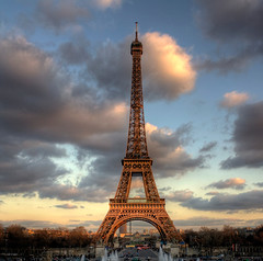 Sunset by the Eiffel Tower