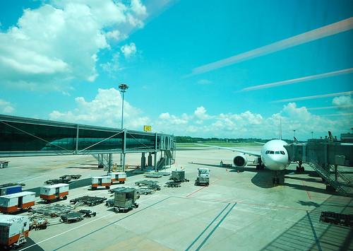 往臺北飛去的新航。新加坡,我們五月底再見。